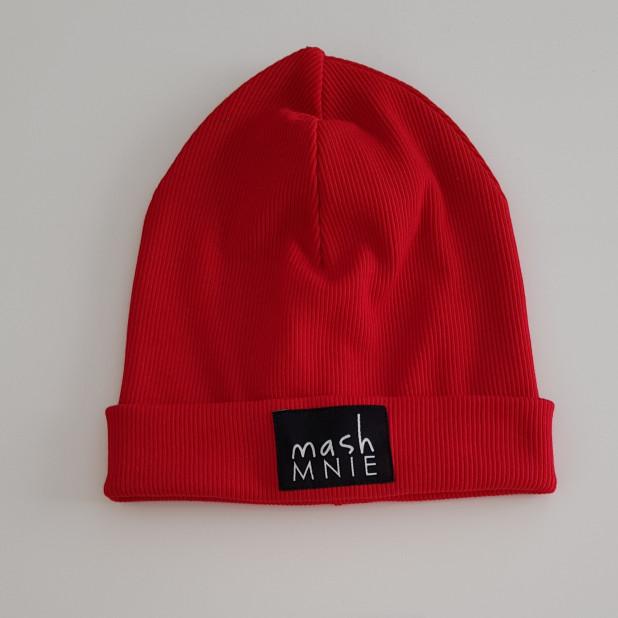 Raudona Rib trikotažo kepurė