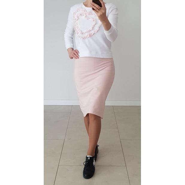 Rausvas trikotažinis sijonas